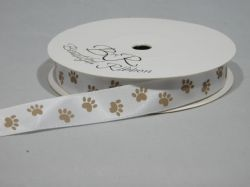 White with Light Gold Paw Print  Satin or Grosgrain Ribbon 2 20 or 25 metres Double sided 15mm